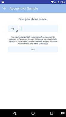 Autenticação por telefone com a Account Kit API